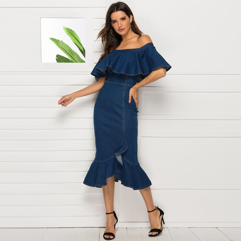 ML21904 Sexy Women Strapless Ruffles Bodycon Denim Casual Dress