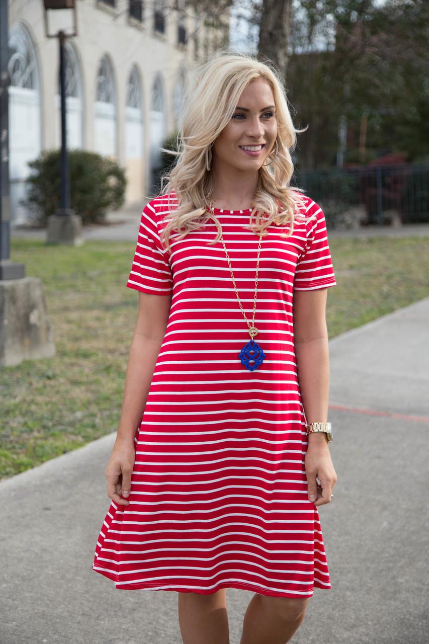 ML19727 Red Striped T Shirt Dresses
