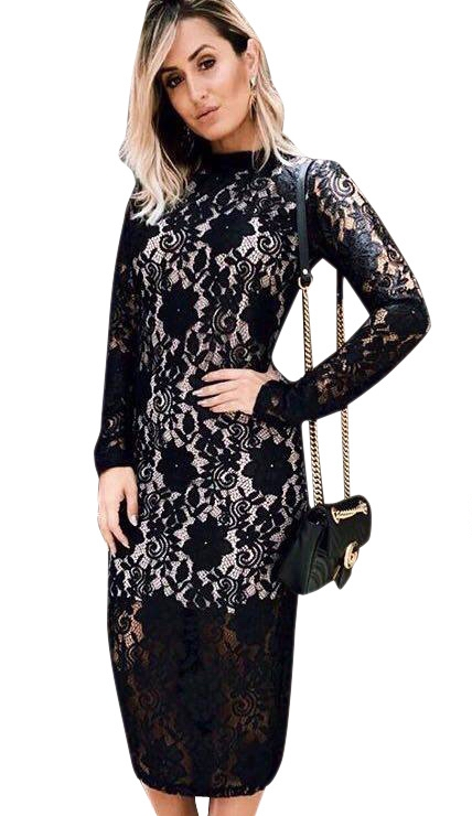 ML19732 Long Sleeves Lace Office Style Dresses