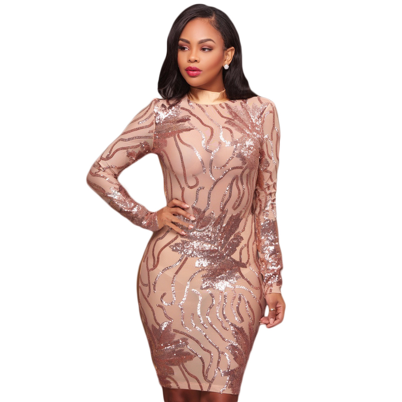 ML19999 Sequins Sexy Long Sleeve Club Dresses