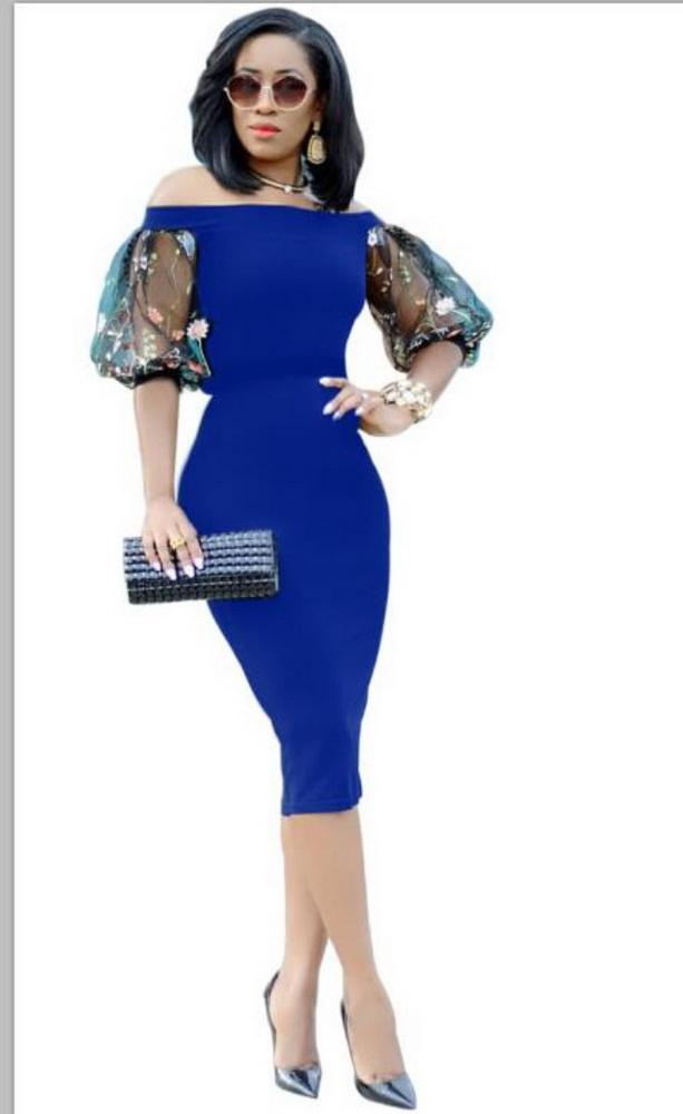 ML22269 Sexy Women Slash Neck Bodycon Pencil Dress