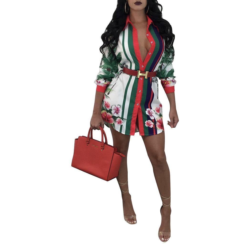 ML20007 Fashion Sexy Casual Lady Shirt Dress