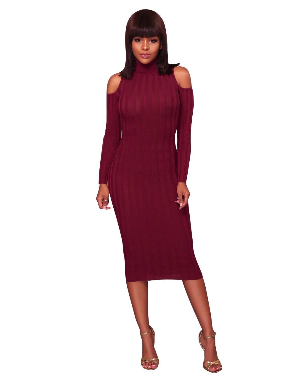 ML20053 Mid Calf Women Knited Dresses