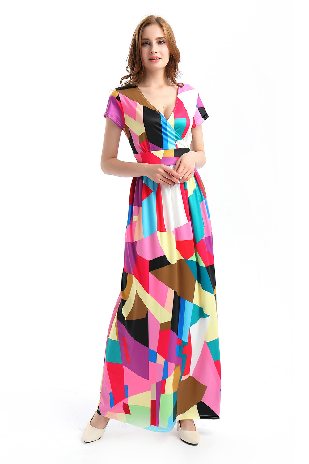 ML20145 Casual Maxi Party Colorful Dress