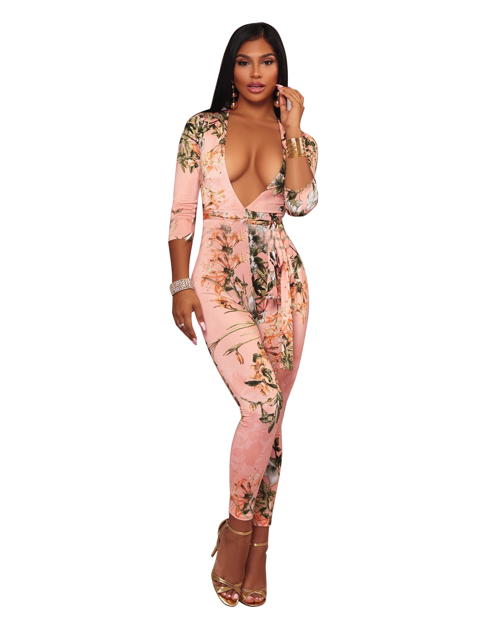 ML20150 Floral V Neck Sexy Lady Overalls