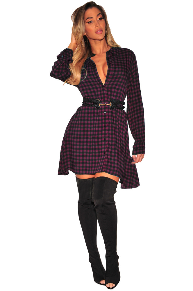 ML20153 Casual Lady Fashion Shirt Dresses