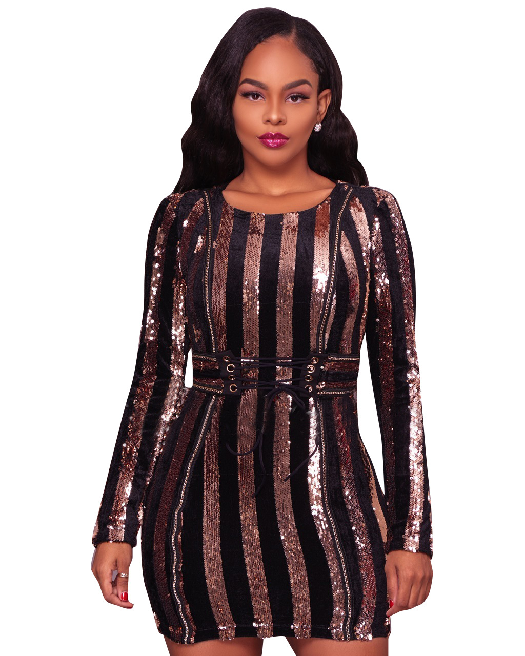 ML20258 Sequin Party Mini Autumn Dress