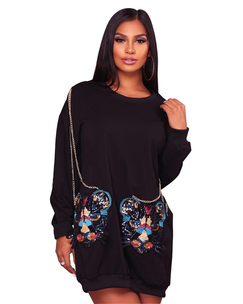 ML20264 Fashion Women Winter Long Sleeve Dress