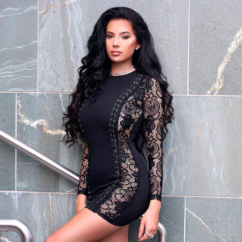 ML20363 Long Sleeves Mini Nightclub Lace Dress