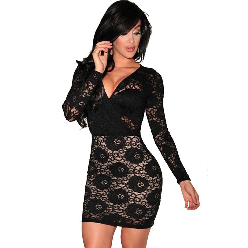 ML20387 Lace Short V Neck Black Dress