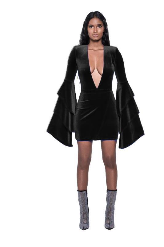 ML20490 Deep V Neck Velvet Dress