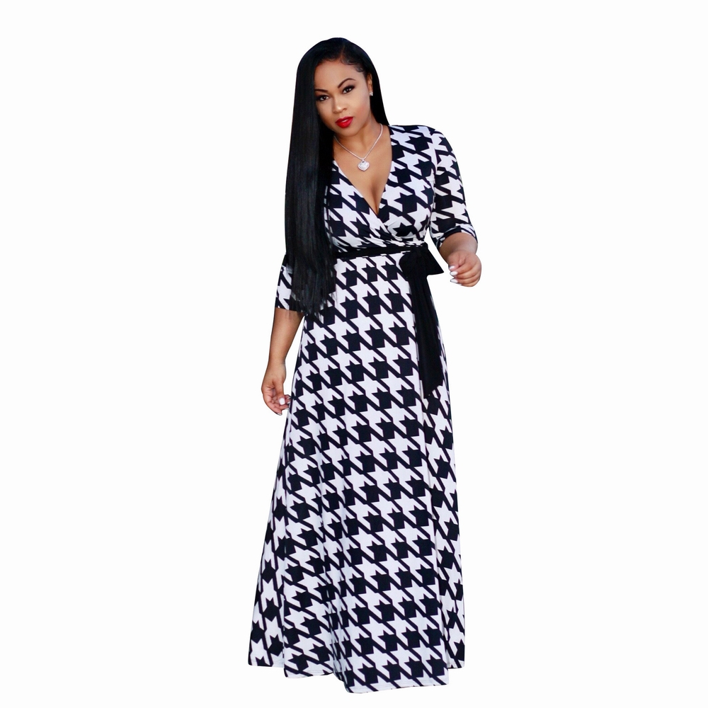 ML20503 V Neck Plaid Fit And Flare Party Dress