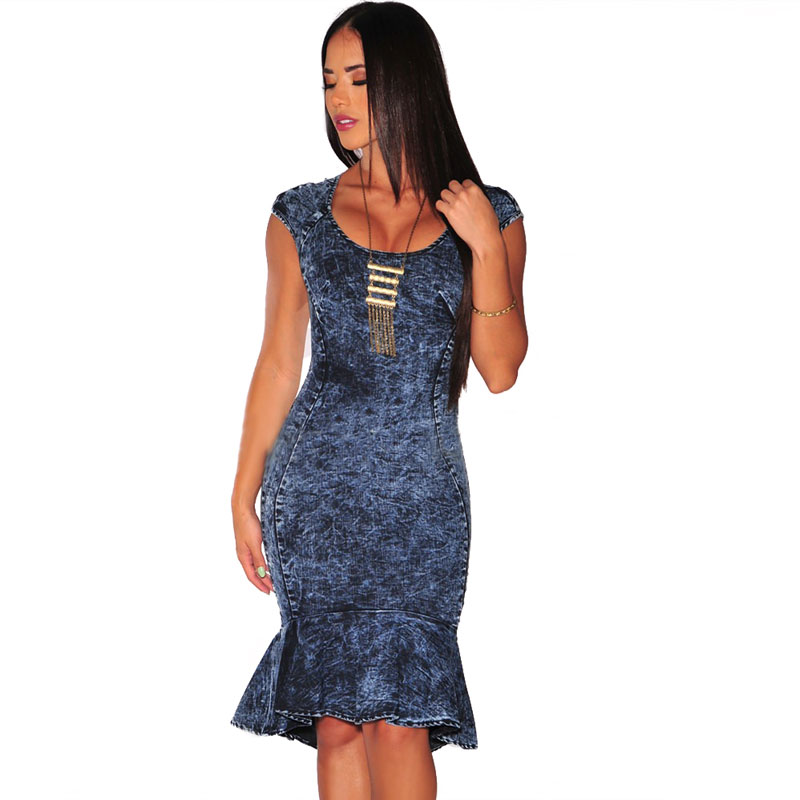 ML20841 Sexy Sleeveless Women New Denim Dress