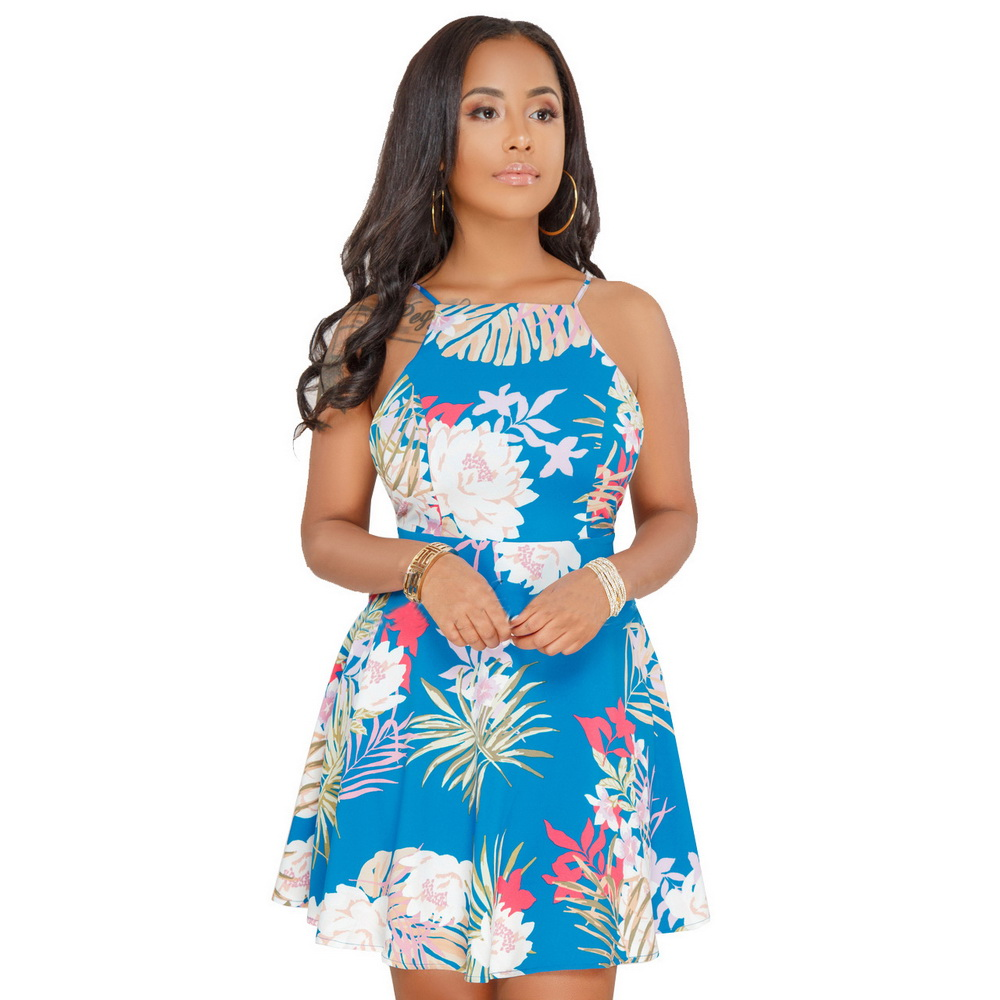 ML20915 Sexy Printed Summer Mini Skater Dress