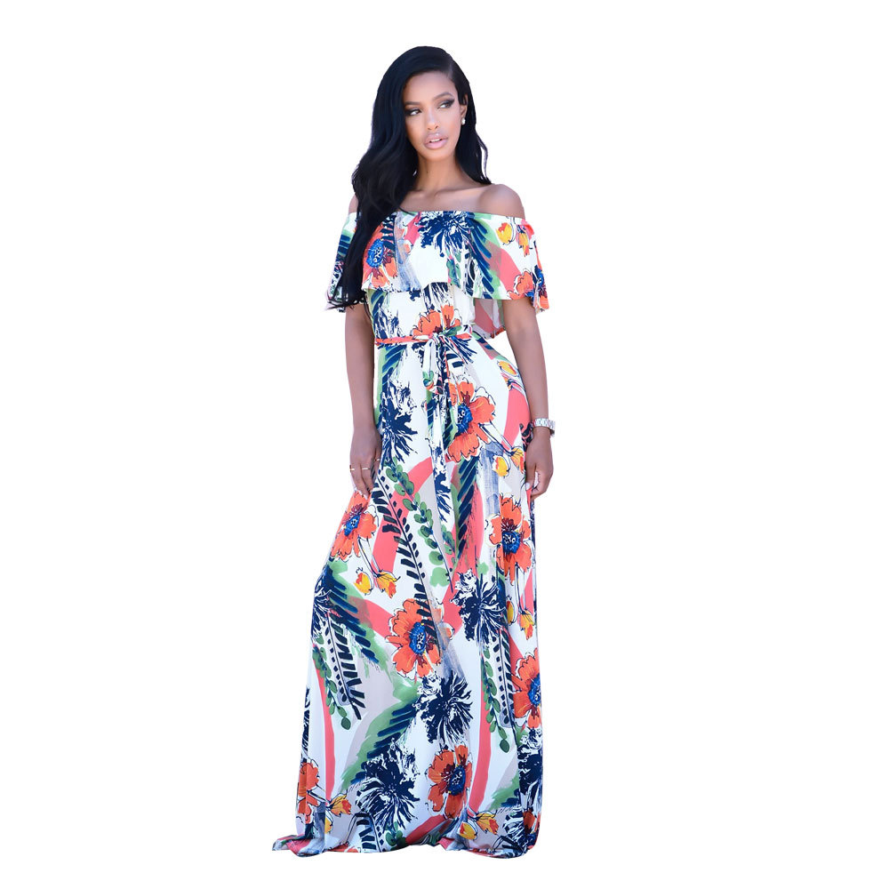 ML21027 Summer Bohomian Sexy Maxi Beach Dress