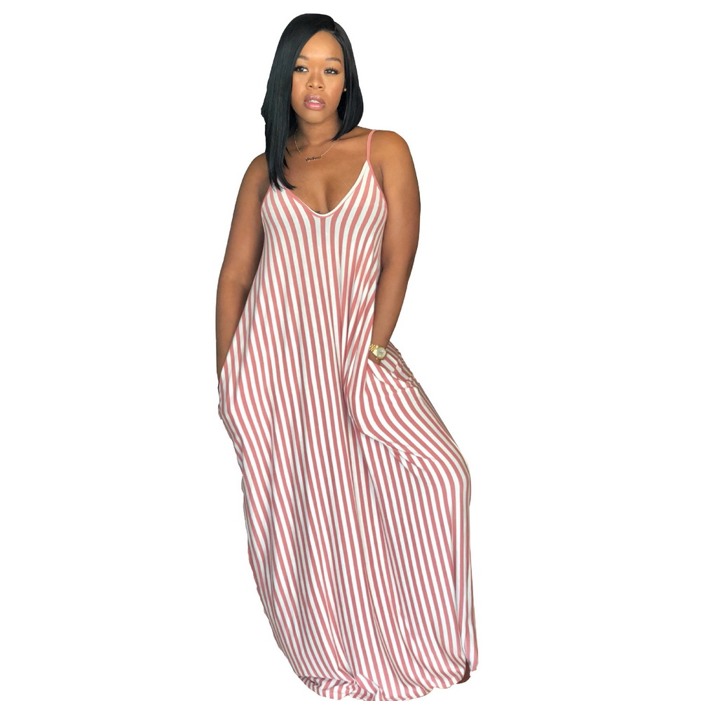 ML21036 Spaghetti Striped Sexy Loose Party Dress