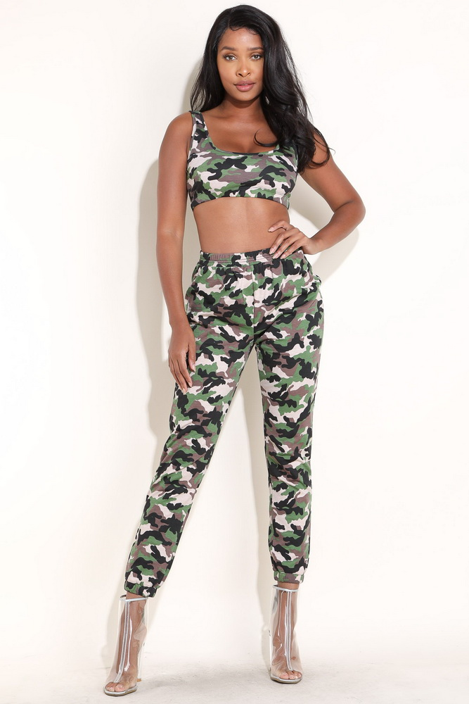 ML21098 Sexy Women Casual Lady Camouflage Set
