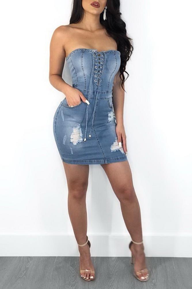 ML21101 Strapless Sexy Bodycon Denim Dress