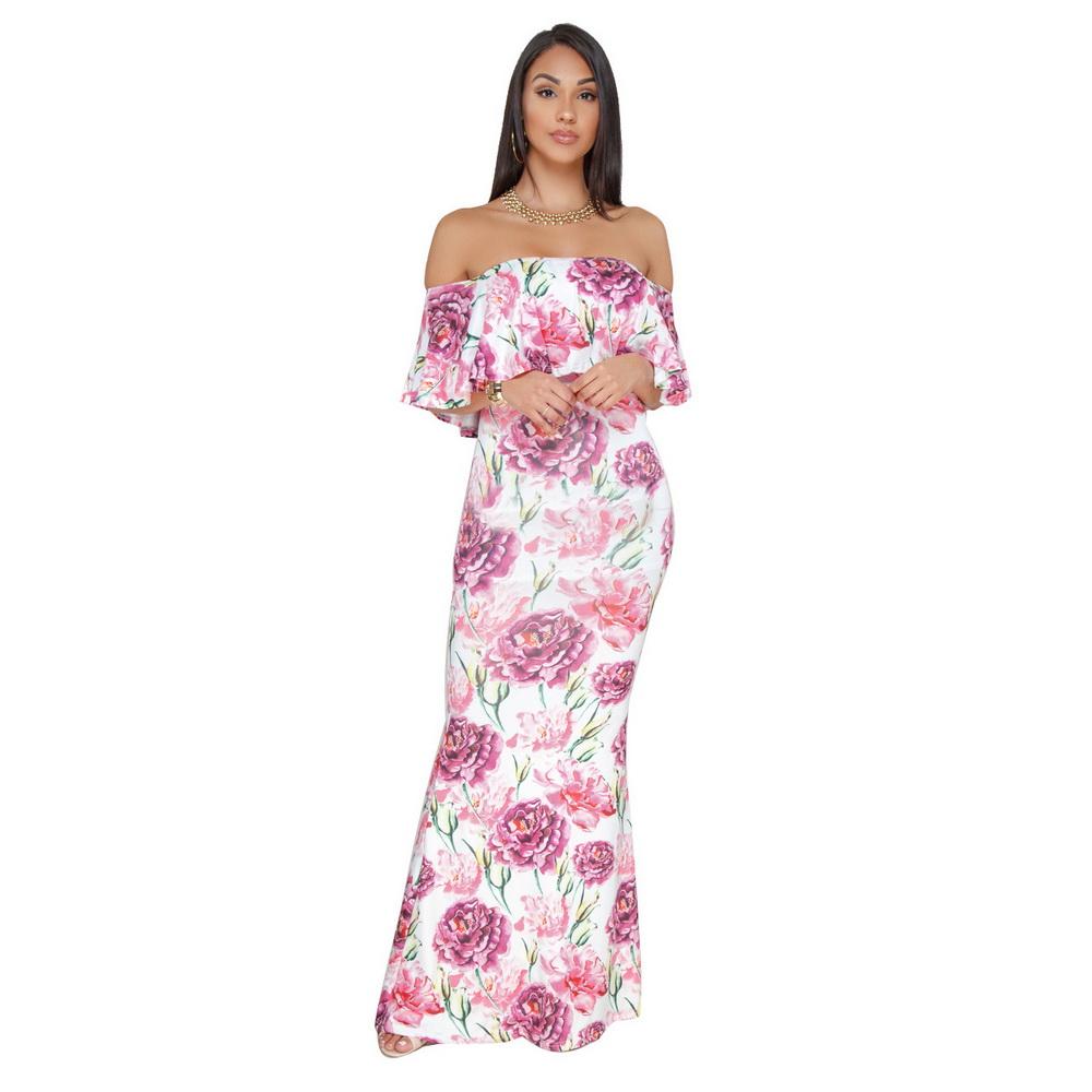 ML21106 Strapless Floral Sexy Summer Boho Dress