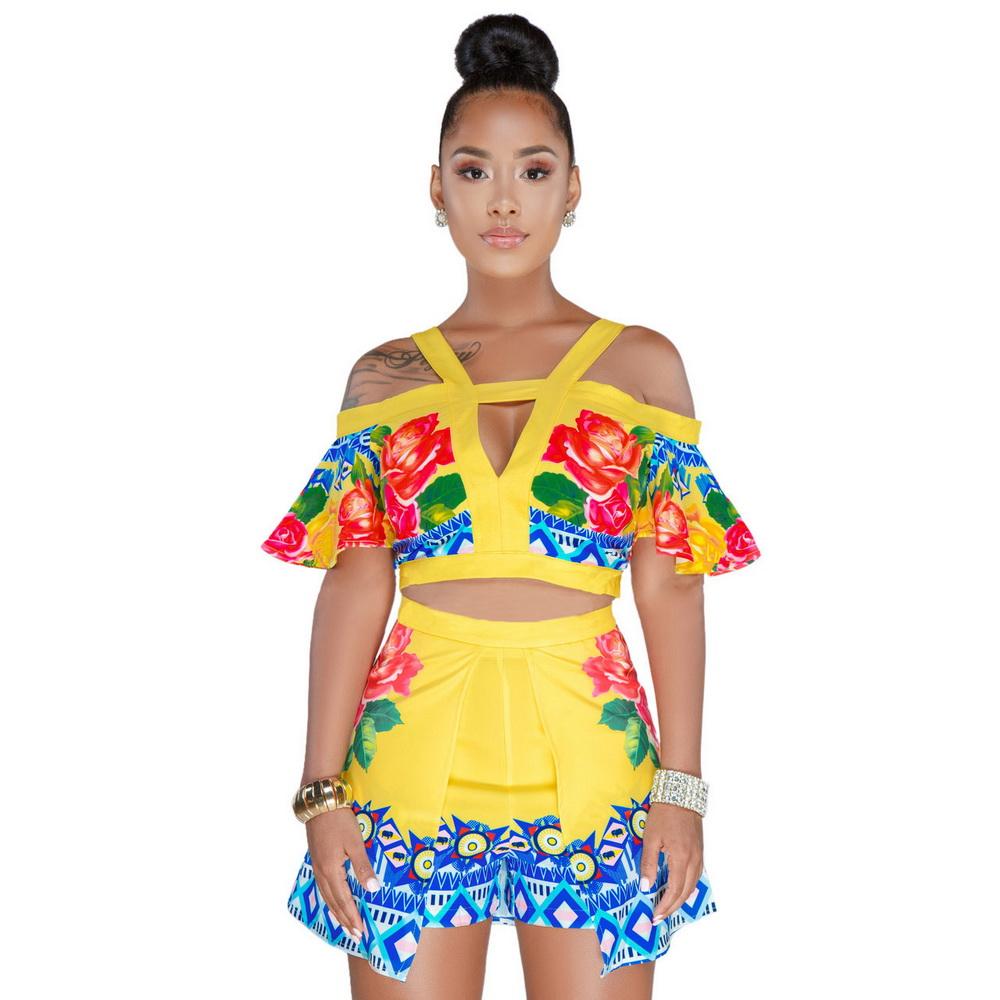 ML21116 Casual Printed Summer Women Set