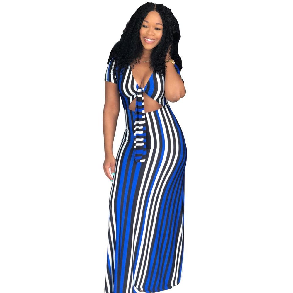 ML21118 Striped Bodycon Women Long Dress