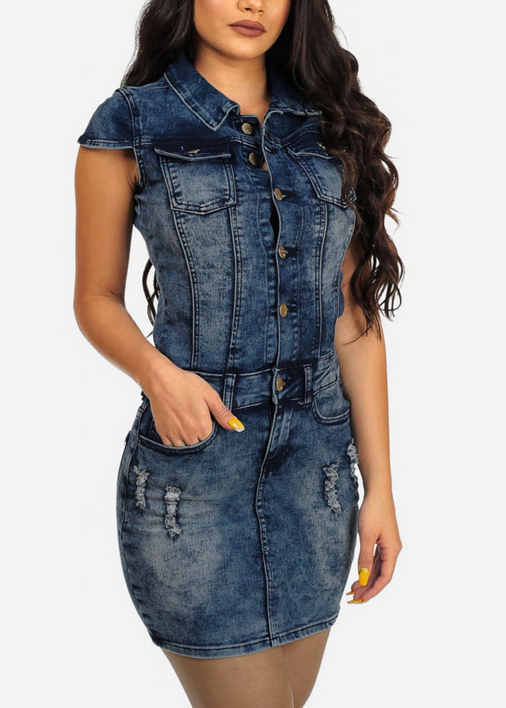 ML21123 Bandage Fashion Short Denim Club Dress