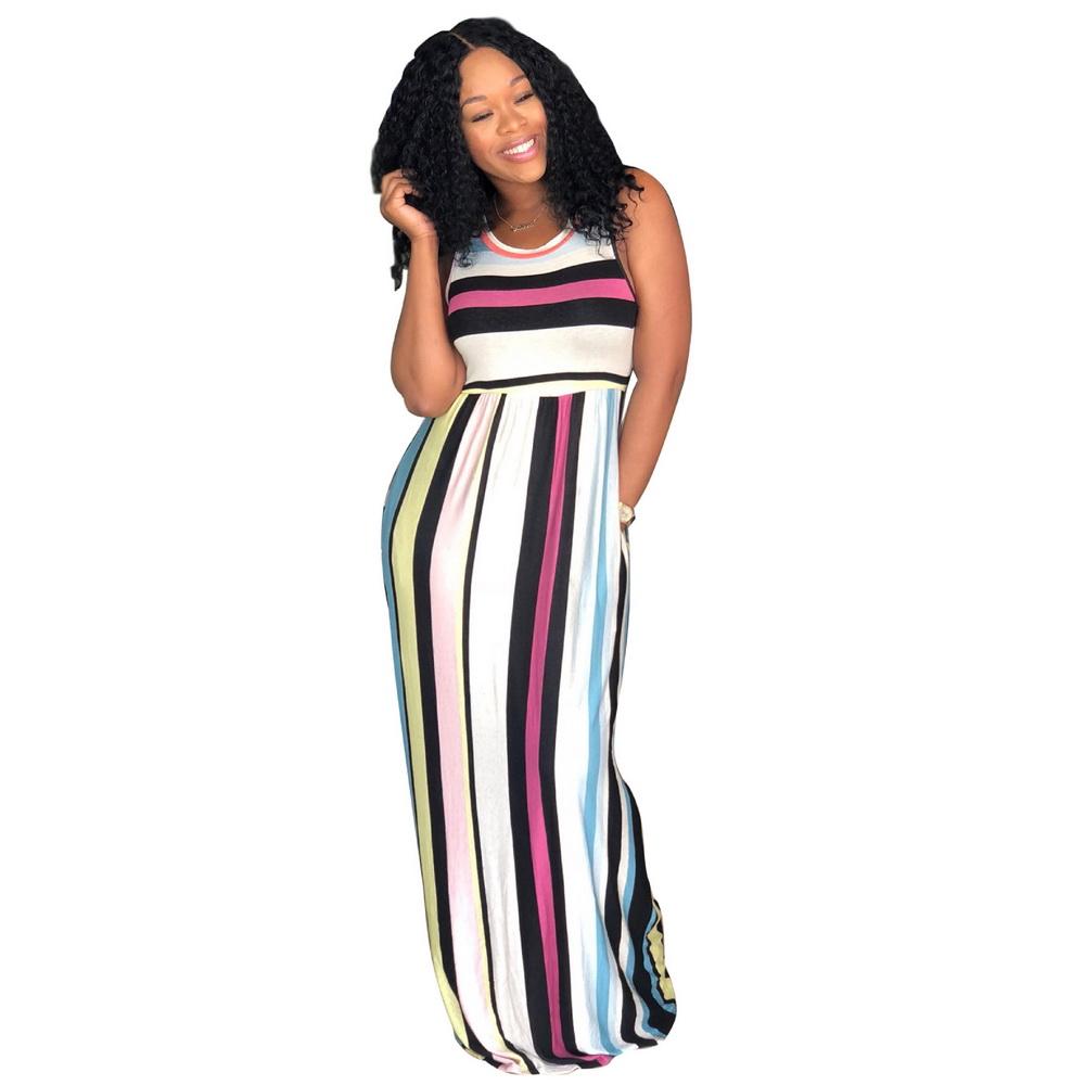 ML21126 Casual Strech Lady Striped Dress