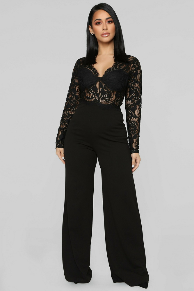 ML21619 Sexy Women Long Sleeve Lace Elegant Casual Summer Jumpsuit