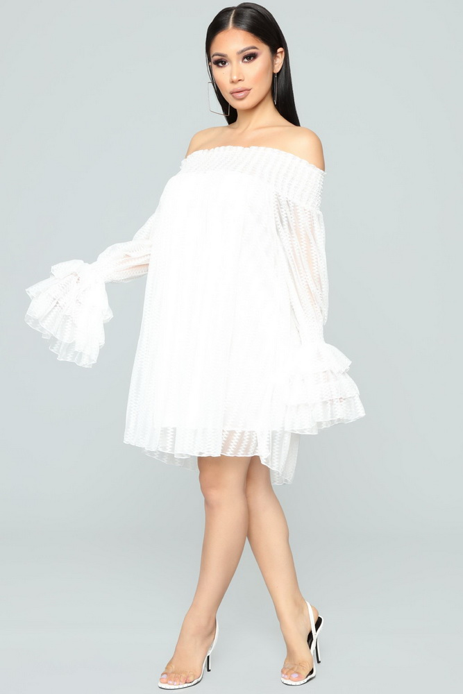 ML21702 Sexy Women Slash Neck Flare Sleeve Elegant Summer Casual Dress