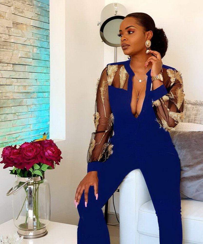 ML22072 Sexy Women Long Sleeve Bodycon Mesh Party Jumpsuit