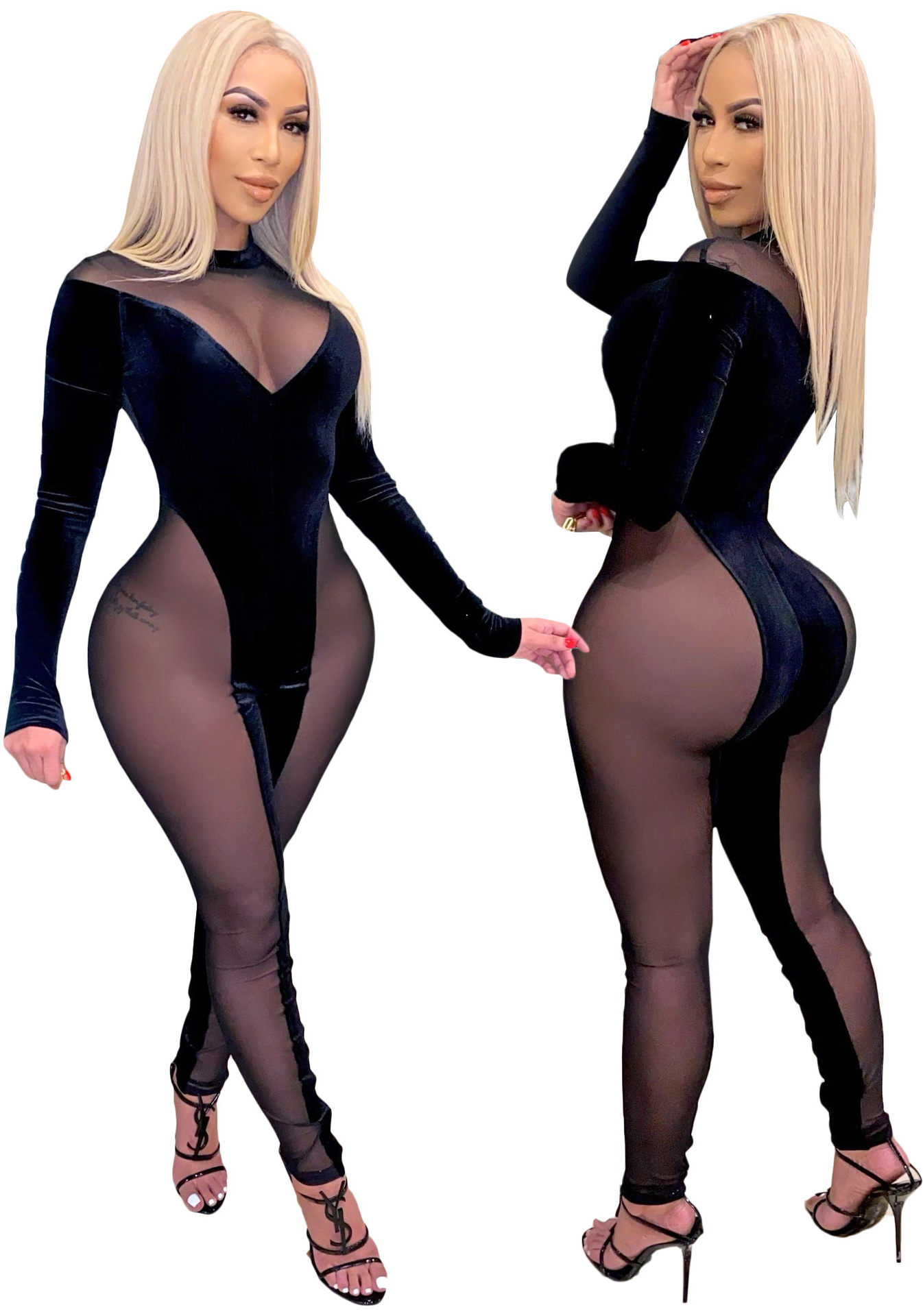 ML22900 Sexy Women O-neck Long Sleeve Skinny Mesh Party Jumpsuit