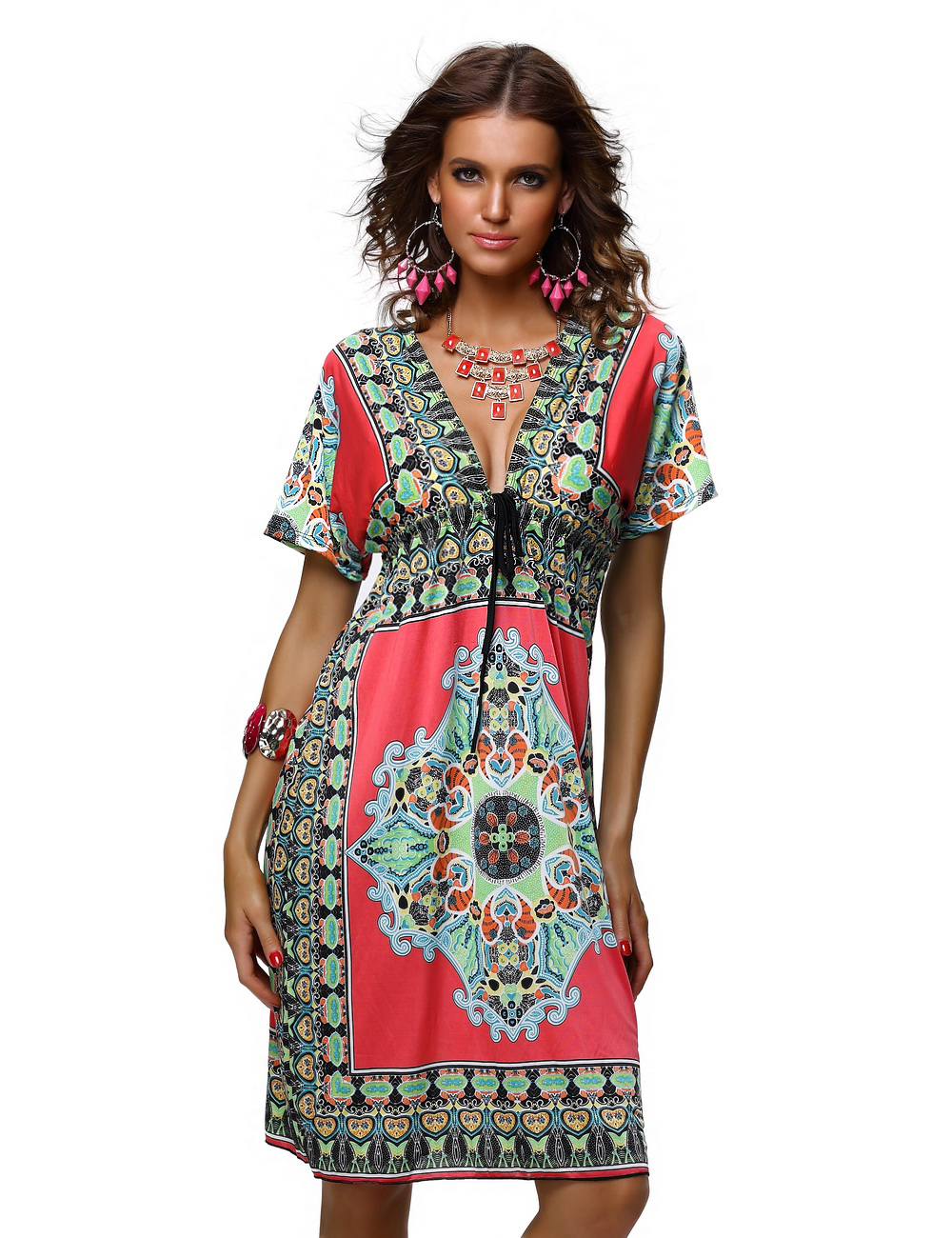 High Waist Short Sleeve Loose Colorful Summer Dress