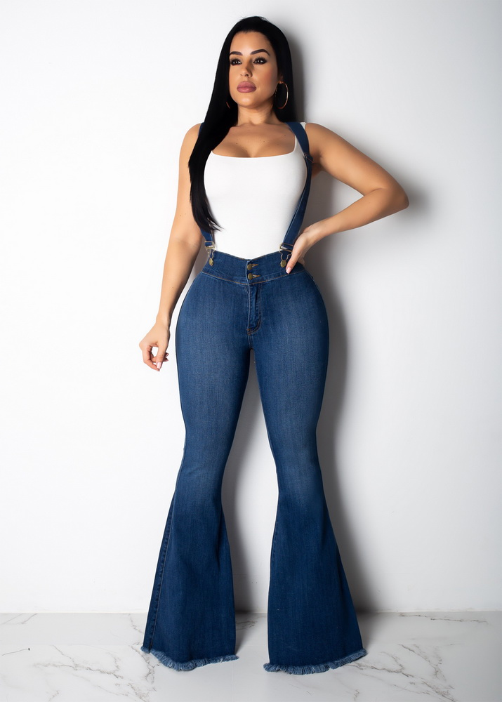 ML21764 Sexy Women Lace Up High Waist Bodycon Denim Flare Pants