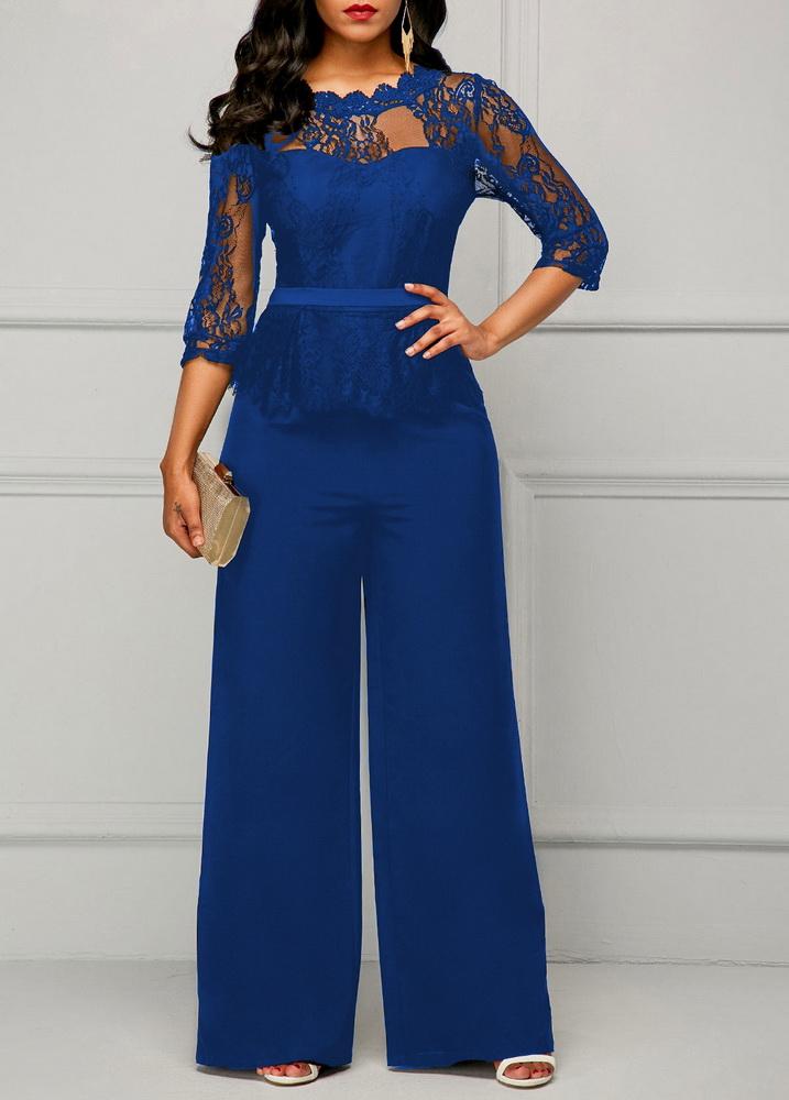 ML22441 Sexy Women O-neck Short Sleeve Elegant Lace Party Jumpsuit