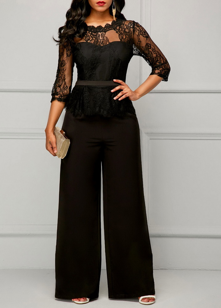 ML22439 Sexy Women O-neck Short Sleeve Elegant Lace Party Jumpsuit