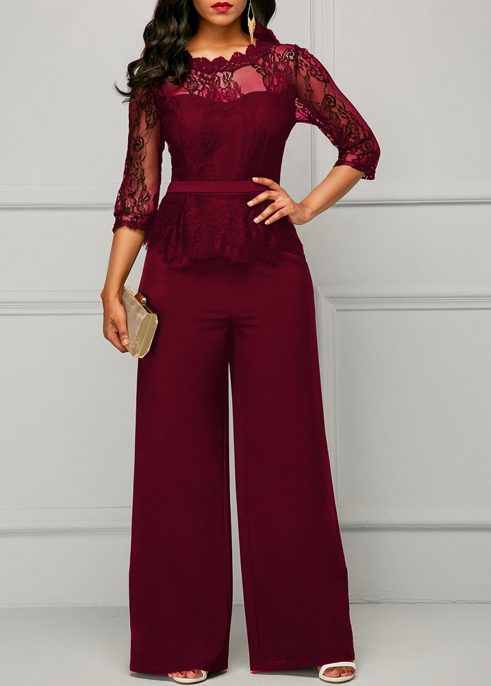 ML22440 Sexy Women O-neck Short Sleeve Elegant Lace Party Jumpsuit