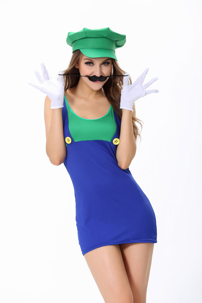 ML5378 Green Jumping Plumber Mario Costume