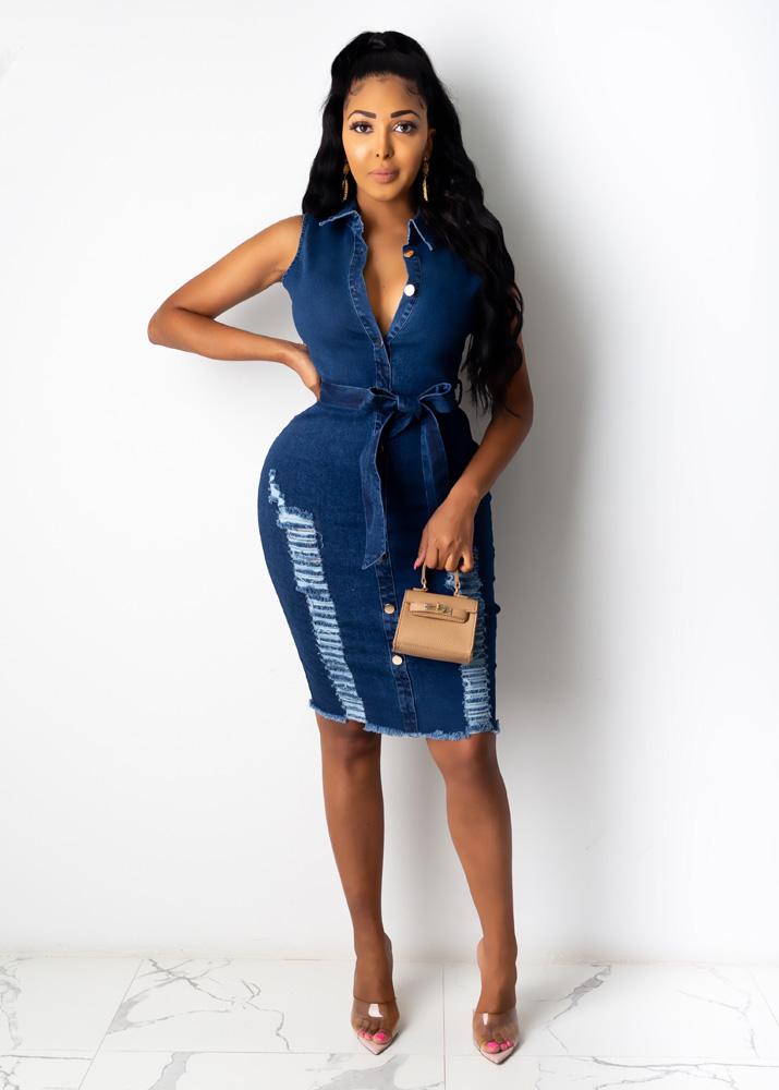 ML22582 Sexy Women Turn Down Collar Bodycon Jeans Casual Dress