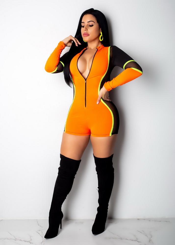 ML21626 Sexy Women Long Sleeve Mesh Bodycon Summer Playsuit