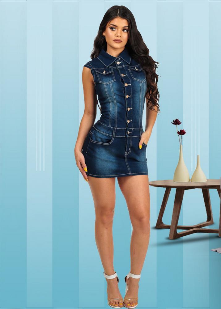 ML21845 Sexy Women Turn down Collar Sleeveless Bodycon Denim Casual Mini Dress