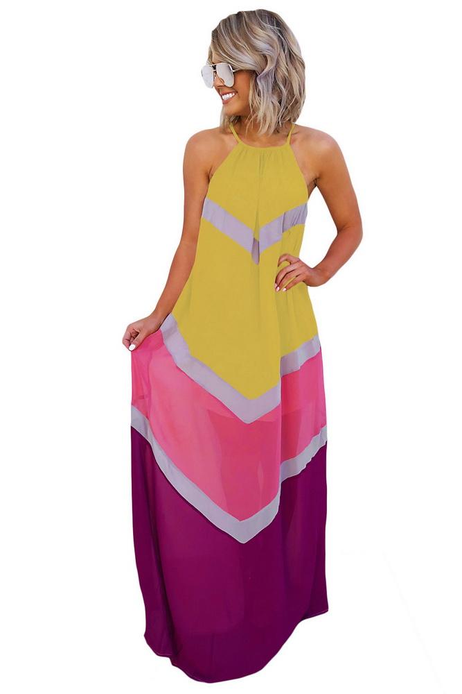 ML22280 Sexy Women Halter Sleeveless Elegant Chiffon Summer Long Dress