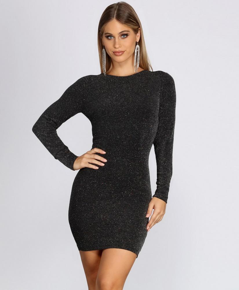 ML22205 Sexy Women O-neck Long Sleeve Bodycon Party Dress