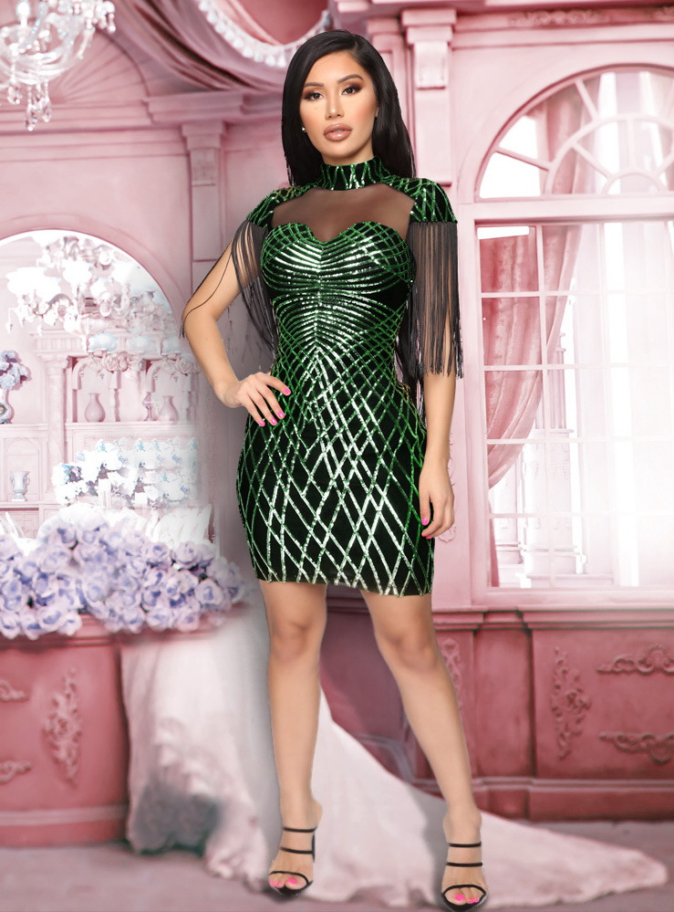 ML22008 Sexy Women O-neck Bodycon Sequined Party Dress