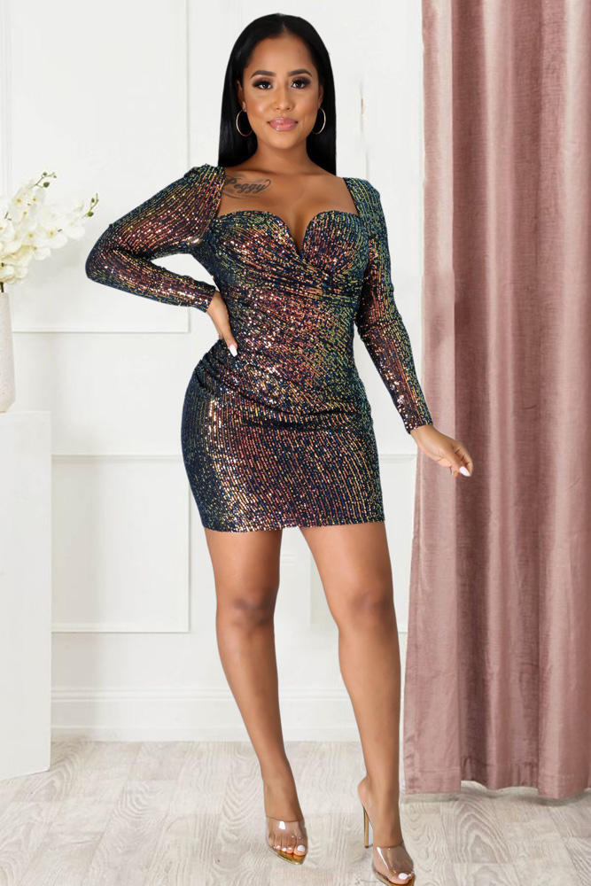 ML23002 Sexy Women Long Sleeve Bodycon Sequined Party Dress