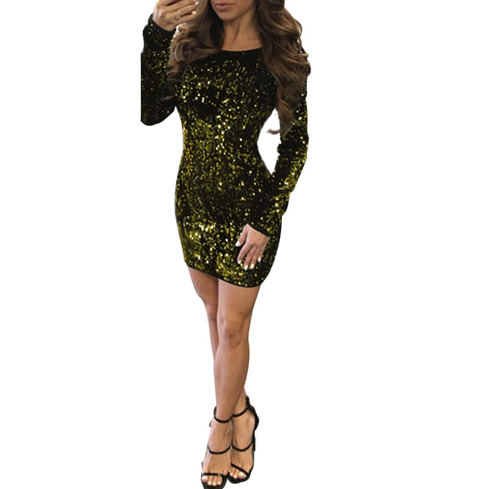 ML21515 Sexy Women O-neck Long Sleeve Backless Bodycon Sequined Party Dress