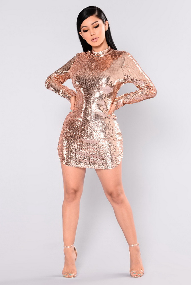ML21541 Sexy Women O-neck Long Sleeve Bodycon Golden Sequined Party Dress