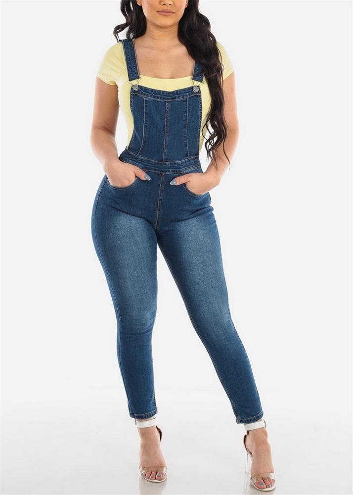 ML21883 Sexy Women Spaghetti Strap Bodycon Denim Casual Jumpsuit