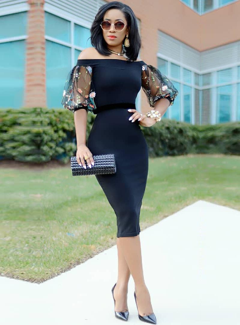 ML22267 Sexy Women Slash Neck Bodycon Pencil Dress