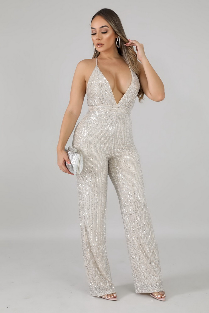 ML22034 Sexy Women Spaghetti Strap Bodycon Sequined Party Jumpsuit
