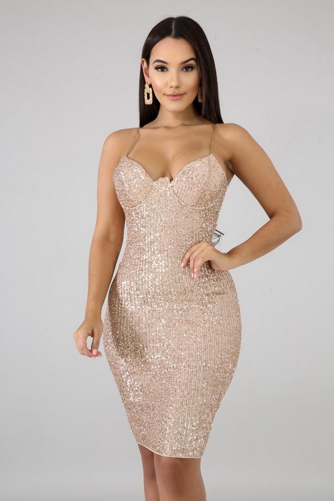 ML22036 Sexy Women Spaghetti Strap Bodycon Sequined Party Dress